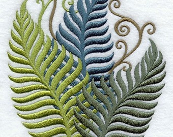 Filigree Ferns Embroidered Flour Sack Hand/Dish Towel