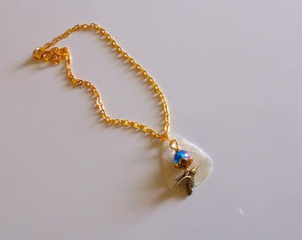 Ankle/Boot Bracelet/ Gold Plated Hummingbird with  Pink/Blue Crystal Glass  Bead on White Guitar Pick. 10 1/2 Inches Long