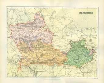 Berkshire, 1894 Antique Map, Comprehensive Gazetteer, England, Wales, John Henry Fryday Brabner