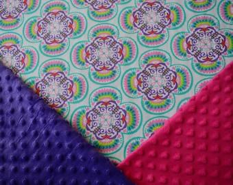 Kaleidoscope Baby Girl Blanket, Personalized Baby Girl Blanket, Floral Baby Girl Blanket, Aqua Pink Baby Girl Blanket, Stroller Blanket