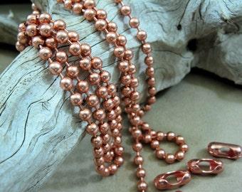 4.5mm Copper Ball Chain, 20 Ft. Bulk Chain, 20 Connectors, Jewelry Chain,