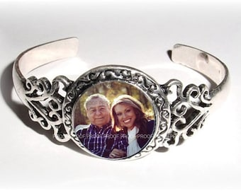 RESERVED FOR AMBER - Memorial Photo Charm Bracelet Silver Filigree - Free Shipping