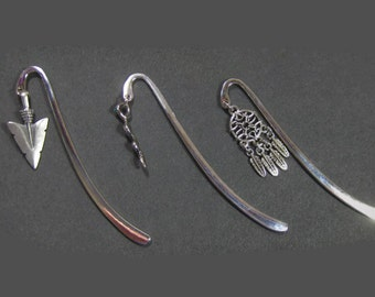 Charm Shepherd Hook Book Mark, Arrow Head , Snake or Dream Catcher Book Mark