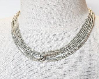 silver necklace,  metallic necklace, grey necklace, beaded silver,  wedding necklace, wedding necklace, seed bead necklace, bridesmaid gift