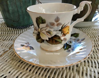 Vintage Royal Dover Fall Roses Teacup & Saucer - Free Shipping