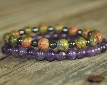 Addiction Mala Bracelet, Unakite, Hematite, Amethyst, Crystal Healing, Prayer Bracelet, Meditation Bracelet, Intent Bracelet, Yoga Bracelet