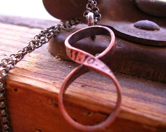 Bronze Custom Infinity Necklace Hand Stamped Name or Date or Initials Infinity Necklace 8th Anniversary Gift for Him PERSONALIZED