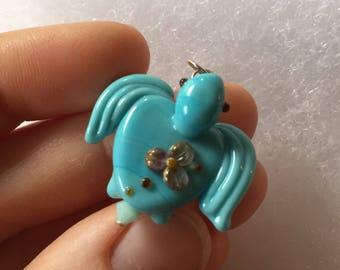 Glass Turtle - Lampwork Pendant - Turqouise - Flamework Artglass - Focal - TurtleBeads Studio - Canadian Artisan Glass Handmade in Canada