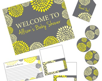 Bridal Baby Shower Party Package, Yellow Charcoal Grey Floral, Modern, DIY Digital Files