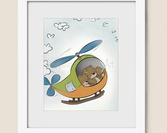 Teddy Bear Babys Nursery Wall Art 8 x 10 Print, Helicopter Boys Room Art, Childrens Art Print for Kids Room (322)