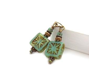 Turquoise Glass Bead Boho Earrings - Carved Square Picasso Beads - Antiqued Bronze Aqua Blue - Handmade Bohemian Earrings