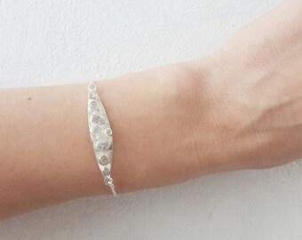 Moonstone and zirconium bar 925 sterling silver bracelet chain, Dainty bracelet