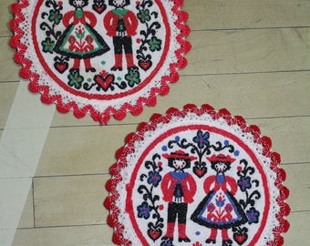Vintage Needlework Round Fabric Coasters Doilies Folkart Doll Collectible