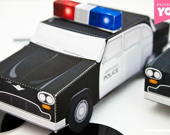 Police Car Favor Box : Print at Home Full-Color Template | Cop Cruiser Gift Box | Officer | DIY Printable | Digital File | Instant Download