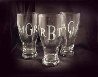 Personalized Monogrammed Pilsner Glasses, Set of 5 - Etched Beer Glass - Etched Pilsner - Monogrammed Glass - Groomsman Gift - Best Man Gift