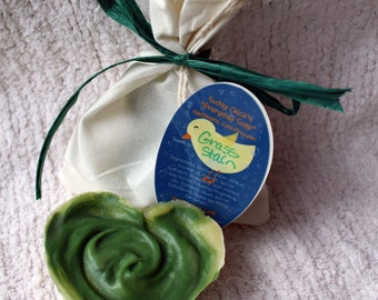 """Grass Stain scented """"Everyday Soap"""" Heart Shape - Handmade Cold Process Homemade"""