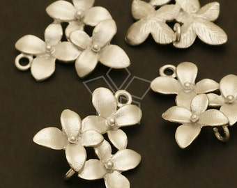 AC-422-MS / 2 Pcs - Cherry Blossom Connector, Matte Silver Plated over Brass / 14mm x 15mm