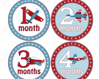 Boy Monthly Baby Stickers, 1 to 12 Months, Monthly Bodysuit Stickers, Baby Age Stickers, Patriotic Planes (072-3)