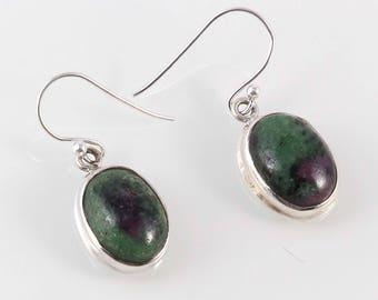 Ruby zoisite 92.5 sterling silver earring