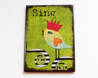Large Magnet, Kitchen magnet, ACEO, Magnet, Fridge magnet, stocking stuffer, Sing, Bird, green, bright colors (4441)