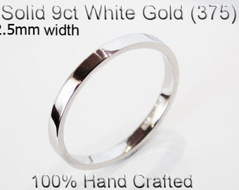 9ct 375 Solid White Gold Ring Wedding Engagement Friendship Friend Flat Band 2.5mm