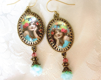 Turquoise Gypsy Earrings - Floral Gypsy Earrings - Boho turquoise Earrings - Vintage Image Earrings - Pink turquoise Earrings - Spring Color