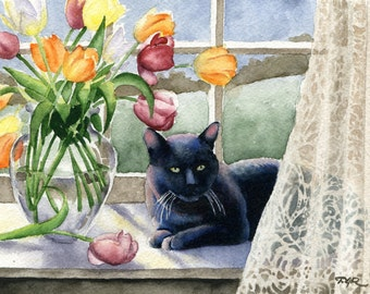 BLACK CAT In The WINDOW Signed Watercolor Art Print by D J Rogers