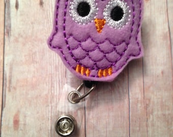 Purple owl badge reel -- show your love of owls while wearing your ID