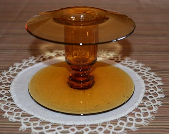 Amber glass / candleholder / candlestick holder / glass / amber / gold / gold glass / vintage candleholder / vintage candlestick holder