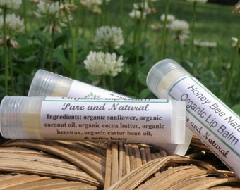 Honey Bee Natural Lip Balm, Organic Ingredients, Native Honey Lip Balm