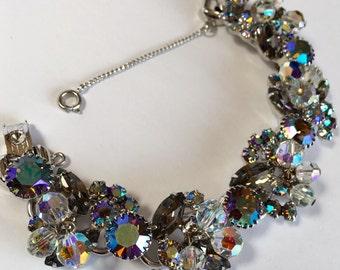 Bracelet Black Diamond AB Rhinestone and Crystal Juliana D&E Verified Vintage