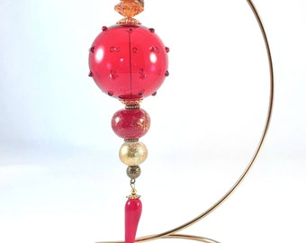 Glass Ornament - Red Ornament - Christmas Ornament - Holiday Ornament -Christmas Decoration - Boho Ornament Holiday Decoration - Boho Decor