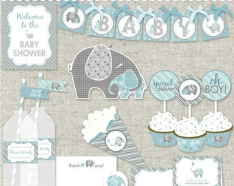 """Elephant Baby Shower in Blue DIY Printable PDF Party - """"Baby of Mine"""" Collection"""