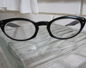 Vintage Black/Brown Lucite Cat Eye Glasses