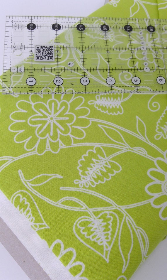 Lime Green Flowers On Stems With Leaves Clean Living by Barbara Jones of Quilt Soup, Quilt Fabric By The Yard 6693 66