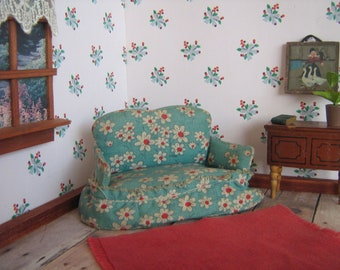 """Vintage  Dollhouse Miniature Upholstered Sofa- WEE DOLL HOUSE Furniture- 3/4"""" Scale- ca. Early 1930s-40s"""