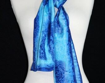 Blue Silk Scarf. Hand Painted Silk Scarf. Handmade Silk Scarf WATER STEPS. Size 8x54. Birthday Gift. Gift-Wrapped. Silk Scarves Colorado.