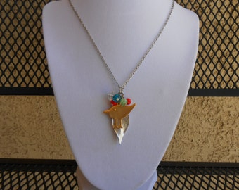 Bird and Leaf Charm Necklace