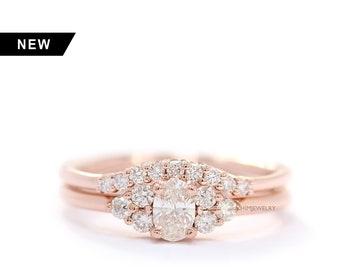 Oval Diamond And Three Diamond 14K Rose Gold Wedding Ring Set,Diamonds Simple Wedding Set,Simple Engagement Ring