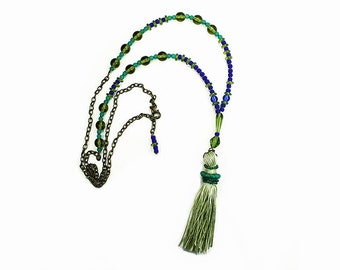 Bright Green Silk Tassel Necklace with Blue and Green beads, Bohemian Jewelry, Long Beaded Necklace, Adjustable Length Boho Necklace