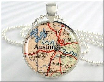 Austin Map Pendant, Resin Charm, Austin Texas Map Necklace, Picture Jewelry, Gift Under 20, Round Silver, Texas Gift 450RS