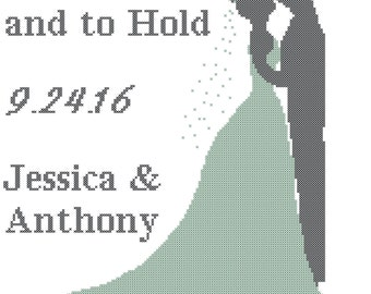 Bride and Groom Cross Stitch Pattern, Bride and Groom Wedding Cross Stitch Pattern, Modern Wedding Cross Stitch Pattern, modern wedding