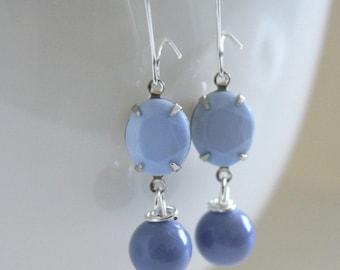 Blue Earrings, Pantone Serenity, Bridesmaid Jewelry, Something Blue, Spring Earrings, Lavender Earrings, Girlfriend Gift, New Mom Gift