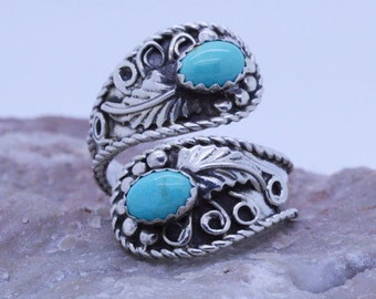 Handmade Sterling SilverGenuine Kingsman Turquoise Adjustable Spoon Ring ~ Unique design direct from the artist