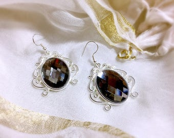 Silver Earring and Crystal Gray Eastern Bohemian vintage
