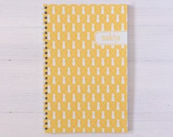 pineapples personalized notebook - choose your color
