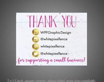 18 Glossy Stickers - 2 x 1.5 Rectangle Thank You on Whitewood
