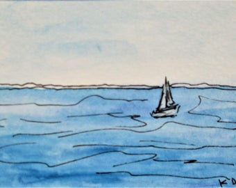 Sailing the Ocean Blue Original Seascape Painting Watercolor Painting Pen Ink Drawing Art by Kathleen Daughan Massachusetts Western Avenue