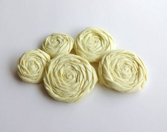 5 Yellow Fabric Rosettes Embellishment