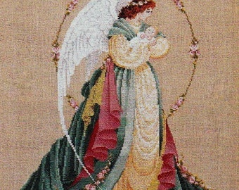 Lavender and Lace cross stitch pattern; Guardian Angel, Victorian designs, counted cross stitch pattern, needle work, charted pattern, decor